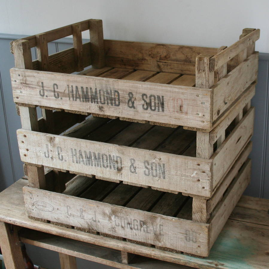 Wooden apple crate by homestead store for Used apple crates