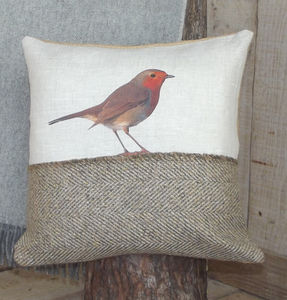 ' Robin ' Tweed And Linen Cushion