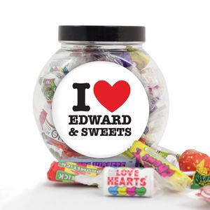 I Heart Love Personalised Sweet Jar - gifts to eat & drink