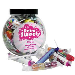 Retro Pink Personalised Sweet Jar