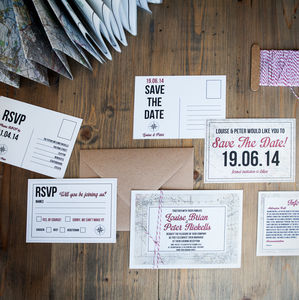 Map Wedding Stationery