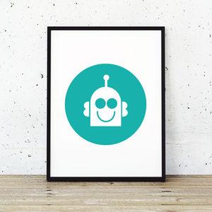 'Happy Robot' Childrens Art Poster