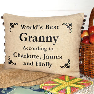 World's Best Granny Cushion With Motifs - cushions
