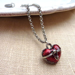 Heart Amulet Locket Necklace With Enamel