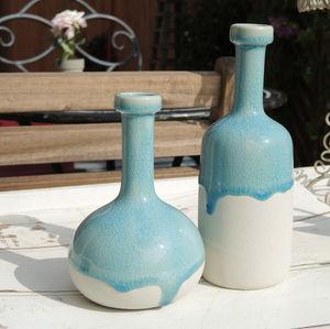Angkor Blue Drip Glaze Vases - vases
