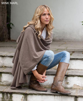 Knitted Cashmere Wrap Mink Marl