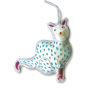 Blue China Cat Beaded Decoration