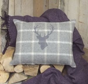' Stag's Head ' Luxury Tweed Wool Cushion - patterned cushions