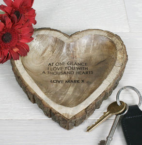 Carved Wooden Heart Dish - soap dishes & dispensers