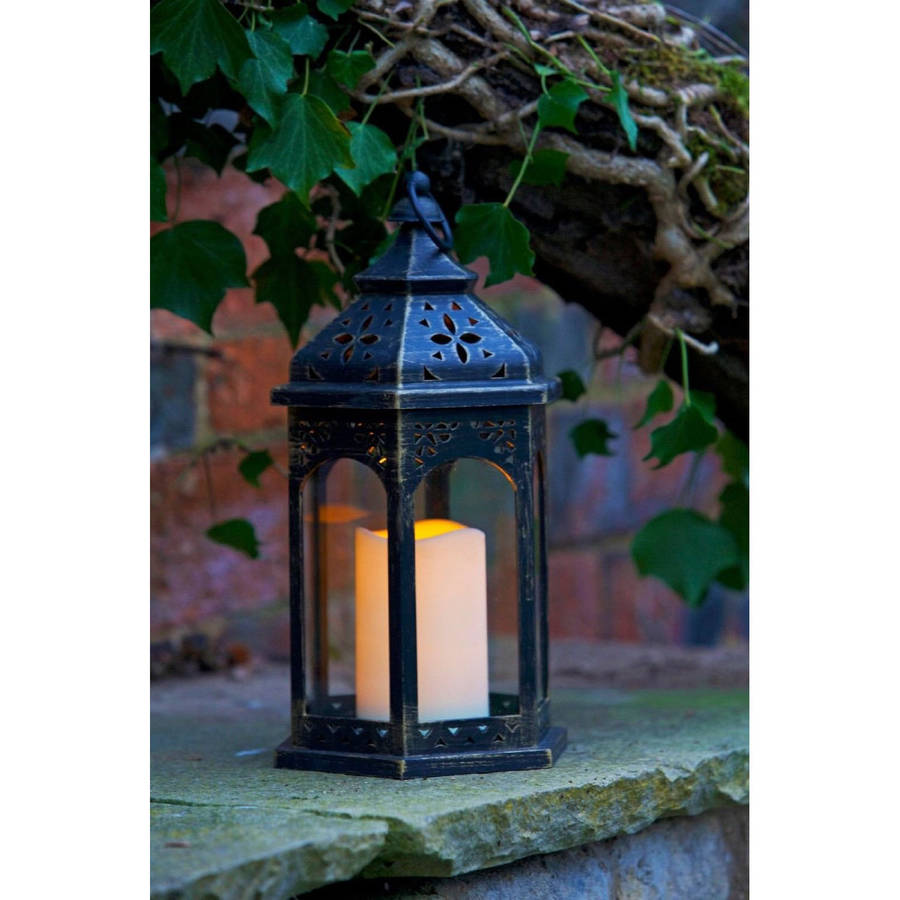moroccan battery candle lantern by garden selections