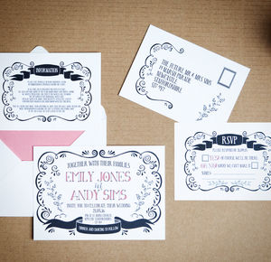 Swirls And Banners Wedding Stationery - invitations