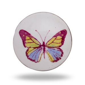 Colorful Blue Ceramic Butterfly Door Knob