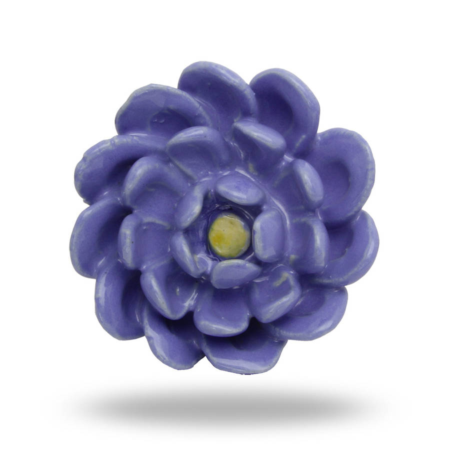 Large Ceramic Sky Flower Knob In Blue