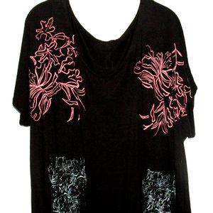 Floral Hand Printed Tee In Neon - women's sale