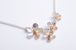 Silver And 9ct Gold Cherry Blossom Pendant Necklace