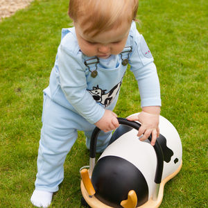 Baby's Organic Toasty Dungarees With Cow - trousers & leggings