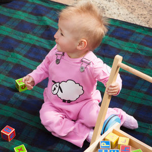 Baby's Organic Toasty Dungarees With Sheep - trousers & leggings