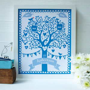 Personalised Family And Pets Tree Framed Print