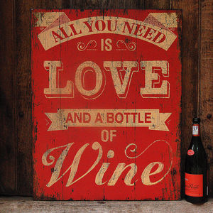 'Love And Wine' Wall Sign