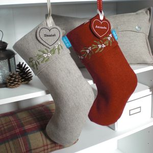 Embroidered Mistletoe Christmas Stocking