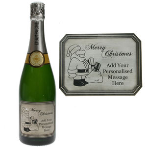 Personalised Christmas Champagne With Pewter Label - champagne & prosecco