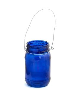 Hanging Blue Jam Jar Tealight Holder - outdoor lights