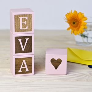 Personalised Baby Girl Pink Keepsake Blocks