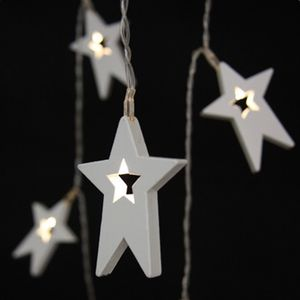 Wooden Star LED Battery Operated Fairy Lights - christmas sale
