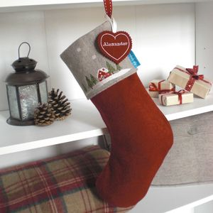 Embroidered Winter Lodge Christmas Stocking