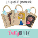 Hand Painted And Personalised Dollybelles Tote Bag