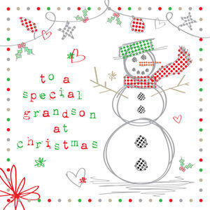 'To A Special Grandson At Christmas' Christmas Card - cards