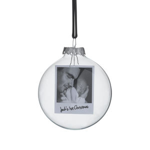 Polaroid Glass Personalised Christmas Bauble - tree decorations