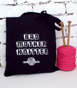 'Bad Mother Knitting Gift Tote' Bag