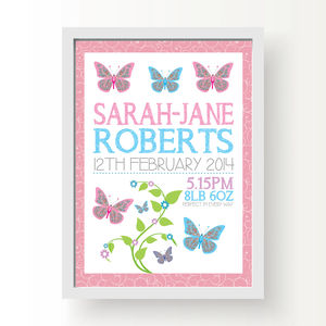 Personalised Butterfly Birth Print