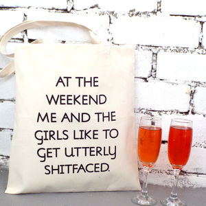 Wine, Weekend And The Girls' Tote Shopping Bag - shoulder bags