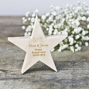 Personalised Engagement Wedding Wooden Star - decorative accessories