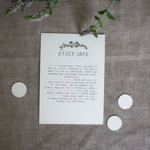 Bespoke Alicia Info Postcard - invitations