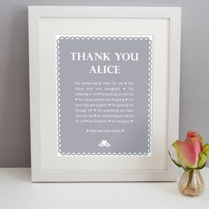 Personalised 'Thank You' Print - thank you gifts