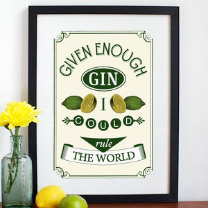 Gin Quote Print - for foodies