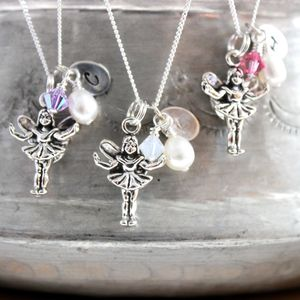 Silver Fairy Necklace With Initial Charm - christening jewellery