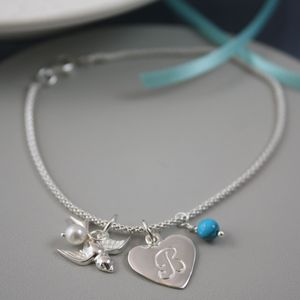Silver Bracelet With Swallow Initial And Birthstone - bracelets & bangles