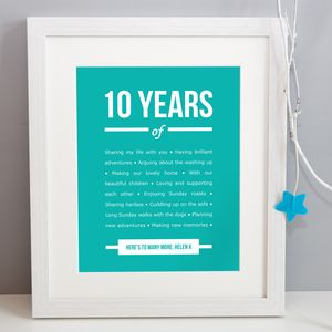 Personalised 10 Year Anniversary Print - posters & prints