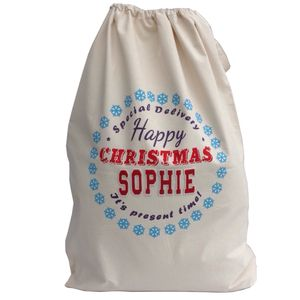 Personalised Snow Flake Christmas Sack