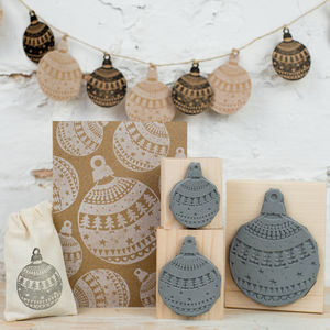 Christmas Pattern Bauble Rubber Stamp - ribbon & wrap