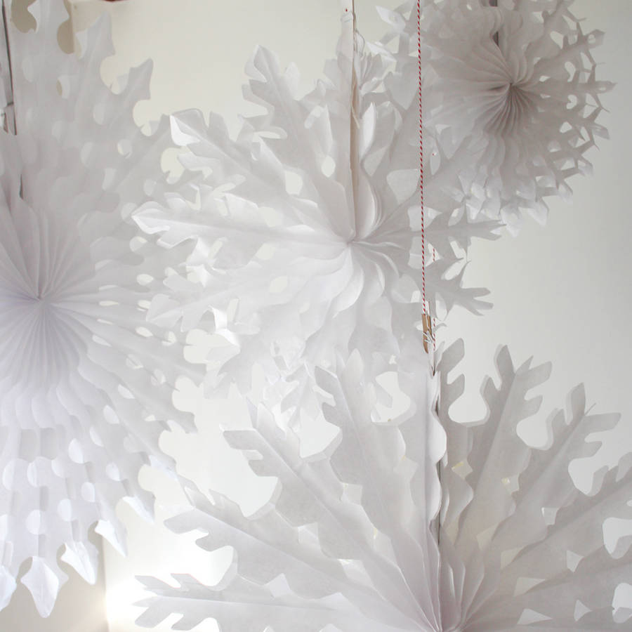 Paper Tissue Fan Christmas Decorations By Pearl And Earl: Paper Tissue Snowflake Christmas Decorations By Pearl And