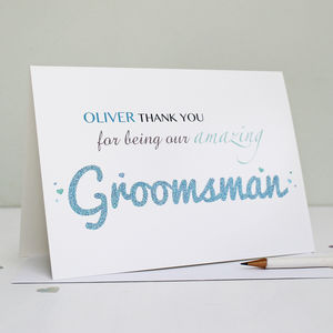 Personalised Groomsman Thank You Card - best man & usher cards