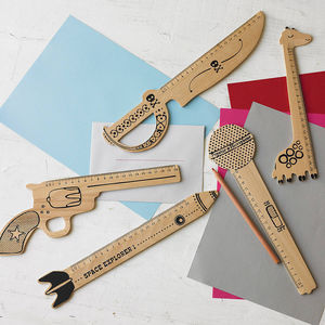 Retro Revolver Shaped Wooden Ruler - rulers, erasers & sharpeners