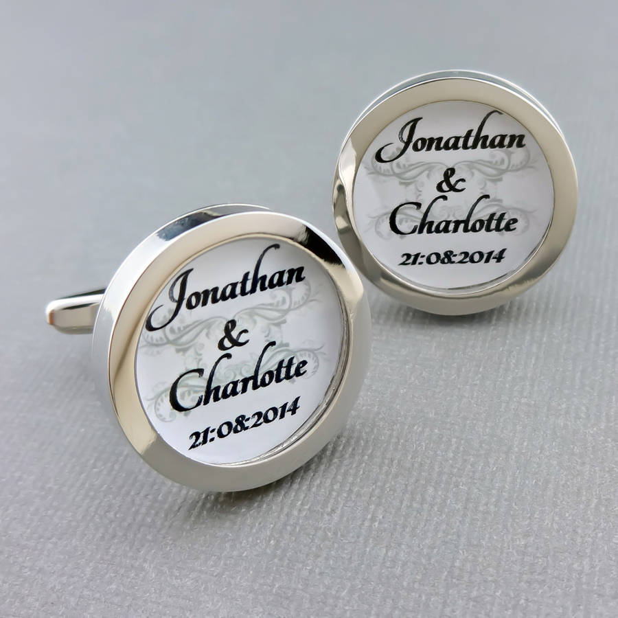personalised bride and groom wedding cufflinks by wild life ...
