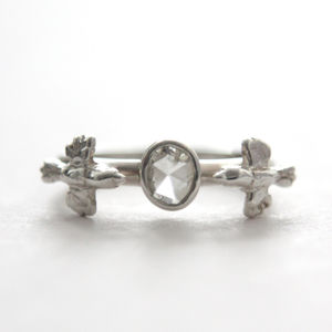 Love Birds Ring. Silver And Rose Cut Diamond