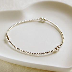 Delicate Sterling Silver Bead Bracelet - wedding jewellery